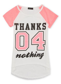 Girls 7-16 Tee with Thanks 04 Nothing Graphic - 1635066590028