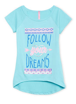 Girls 7-16 High Low Top with Follow Your Dreams Print - 1635066590032