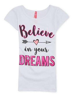 Girls 7-16 Tee with Believe In Your Dreams Graphic - 1635066590040