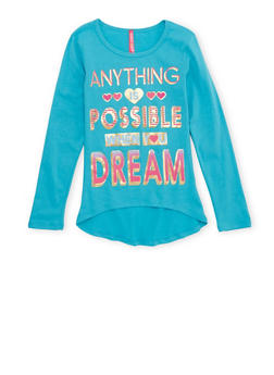 Girls 7-16 High Low Top with Anything is Possible Graphic - 1635066590048