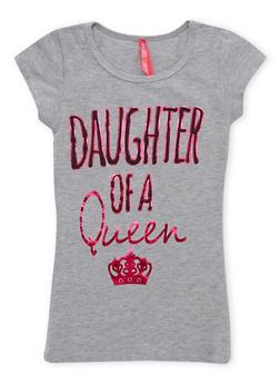 Girls 7-16 Daughter of a Queen Metallic Graphic Top - 1635066590055