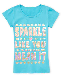 Girls 7-16 Short Sleeve Sparkle Graphic T Shirt - 1635066590059