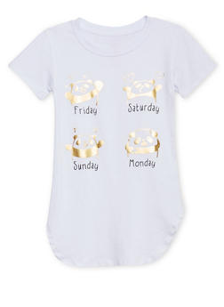Girls 7-16 T Shirt with Days of The Week Panda Graphic - 1635066590103