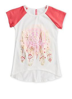 Girls 7-16 Short Sleeve Foil Graphic Raglan T Shirt - 1635066590108
