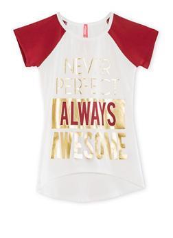 Girls 7-16 Short Sleeve Foil Graphic Raglan T Shirt - 1635066590115
