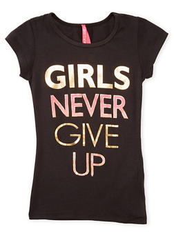 Girls 7-16 Girls Never Give Up Graphic Top - 1635066590178