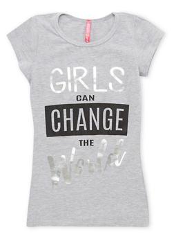 Girls 7-16 Change the World Graphic Tee - 1635066590215