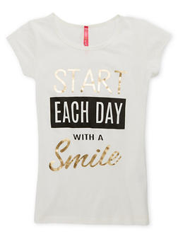 Girls 7-16 Each Day Smile Graphic Tee - 1635066590217