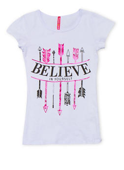 Girls 7-16 Graphic Believe in Yourself T Shirt - 1635066590222