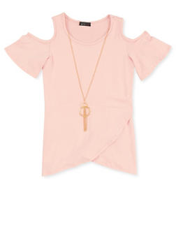 Girls 7-16 Cold Shoulder Top with Necklace - 1635066590252