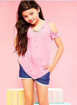 Girls 7-16 Hanky Hem Cold Shoulder Top with Attached Necklace - 1635066590261