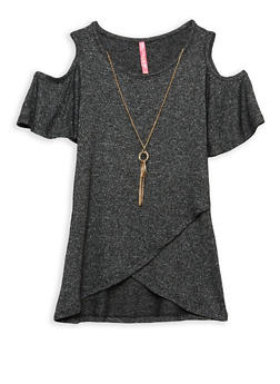 Girls 7-16 Cold Shoulder Top with Detachable Necklace - 1635066590262