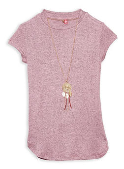 Girls 7-16 Marled Top with Necklace - 1635066590263