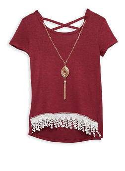 Girls 7-16 Crochet Trim Top with Detachable Necklace - 1635066590264
