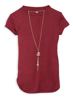 Girls 7-16 Round Hem Top with Necklace - 1635066590265