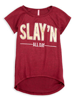 Girls 7-16 Slay Graphic Knit Top - 1635066590272