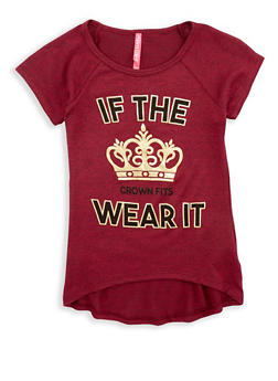 Girls 7-16 Foil Graphic Top - 1635066590280