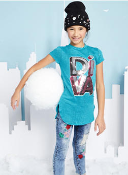 Girls 7-16 Sequin Graphic Tunic Top - 1635066590387