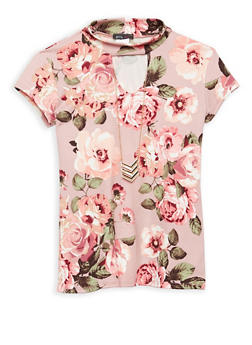 Girls 7-16 Soft Knit Floral Top with Necklace - 1635066590405