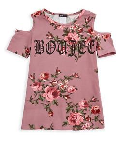 Girls 7-16 Graphic Floral Cold Shoulder Top - 1635066590406