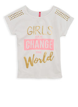Girls 7-16 Change the World Studded Graphic T Shirt - 1635066590488