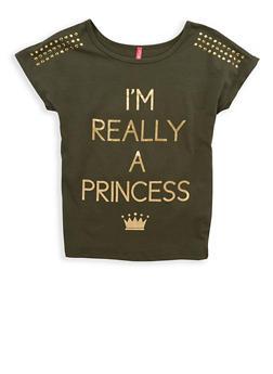 Girls 7-16 Princess Studded Graphic T Shirt - 1635066590493