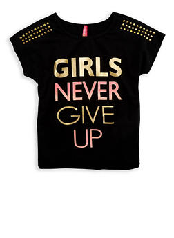 Girls 7-16 Girls Never Give Up Studded T Shirt - 1635066590494
