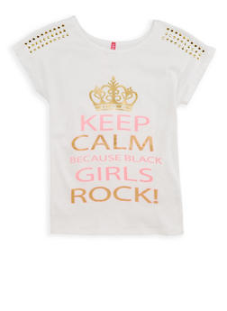 Girls 7-16 Girls Rock Studded Graphic T Shirt - 1635066590501