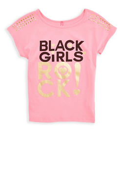 Girls 7-16 Black Girls Rock Studded T Shirt - 1635066590502