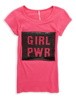 Girls 7-16 Sequin Girl Power Graphic T Shirt - 1635066590520
