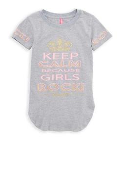 Girls 7-16 Glitter Graphic Tunic T Shirt - 1635066590538