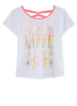Girls 7-16 Short Sleeve Graphic Shirt with Back Twist Detail - 1635066591019