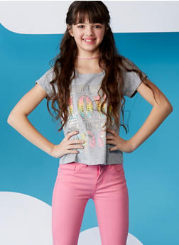 Girls 7-16 Love Elephant Graphic Twisted Back T Shirt - 1635066591020