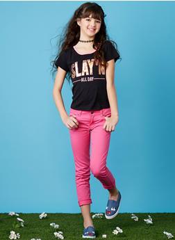 Girls 7-16 Twist Tie Upper Back Graphic T Shirt - 1635066591029