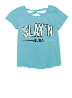 Girls 7-16 Twist Back Graphic Slay'N All Day T Shirt - 1635066591030