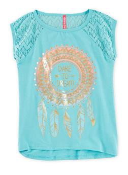 Girls 7-16 Dream Graphic Crochet Yoke T Shirt - 1635066591032