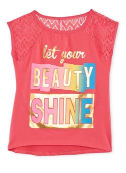 Girls 7-16 Crochet Cap Sleeve Foil Graphic T Shirt - 1635066591042