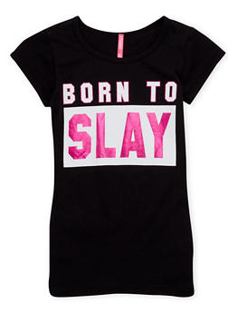 Girls 7-16 Short Sleeve Top with Born To Slay Print - 1635066591106