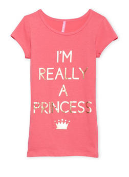 Girls 7-16 T Shirt with Princess Graphic - 1635066591107