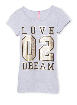 Girls 7-16 Tee with Love 02 Dream Graphic - 1635066591109