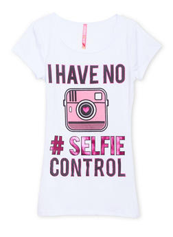 Girls 7-16 Scoop Neck Tee with I Have No Selfie Control Graphic - 1635066591113
