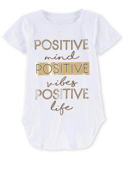 Girls 7-16 Short Sleeve Positive Vibes Shirt - 1635066591304
