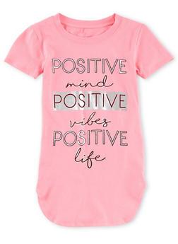 Girls 7-16 Short Sleeve Foil Screen Graphic T Shirt - 1635066591305