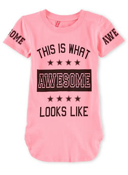 Girls 7-16 Short Sleeve Awesome Graphic T Shirt - 1635066591308