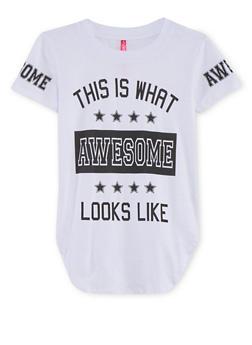 Girls 7-16 Awesome Graphic Shirttail T Shirt - 1635066591309