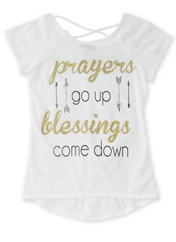 Girls 7-16 Blessings Graphic Caged Top - 1635072170046