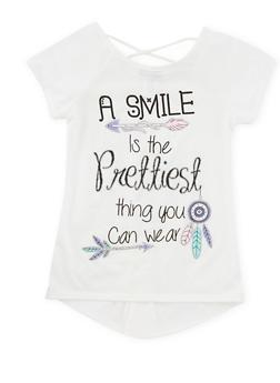 Girls 7-16 Smile Graphic T Shirt - 1635072170078