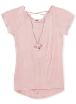 Girls 7-16 Split Back Short Sleeve Top with Necklace - 1635072170322