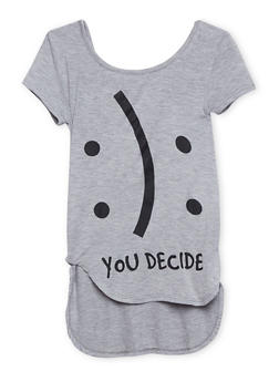 Girls 7-16 Emoji Top with You Decide Print and Lace Bow - 1635072170371