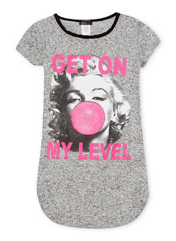 Girls 7-16 Marled Knit T Shirt with Get on my Level Marilyn Graphic - 1635072170372